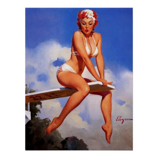 Vintage Elvgren Diving Board Swimmer Pin Up Girl Poster