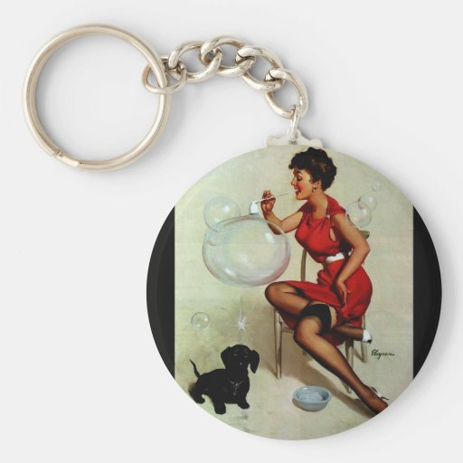 Vintage Elvgren Pinup Girl Blowing Bubbles Keychains