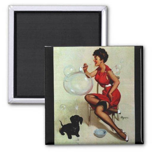 Vintage Elvgren Pinup Girl Blowing Bubbles Refrigerator Magnet