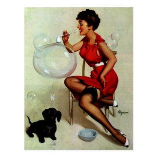Vintage Elvgren Pinup Girl Blowing Bubbles Postcard