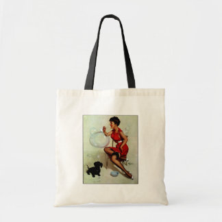 Vintage Elvgren Pinup Girl Blowing Bubbles Tote Bag