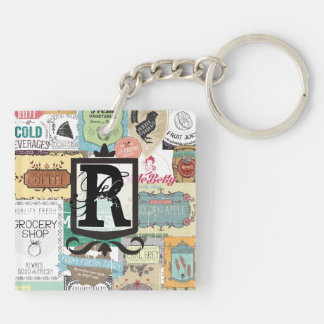 Vintage emblem food wine drink foodie chef cooking Double-Sided square acrylic keychain