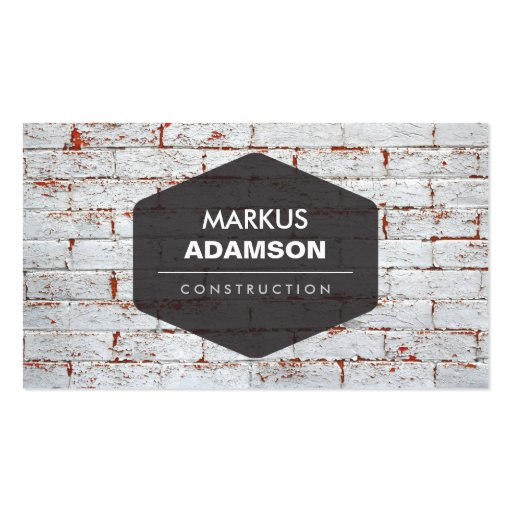 VINTAGE EMBLEM LOGO ON RUSTIC BRICK WALL II BUSINESS CARD