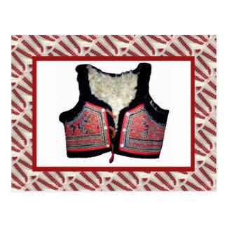 Vintage emboidered folk costume vest postcard