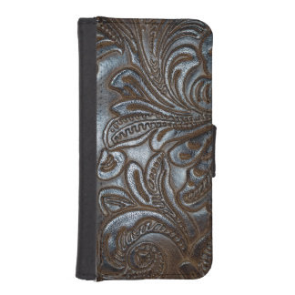 Vintage Embossed Brown Leather iPhone SE/5/5s Wallet Case