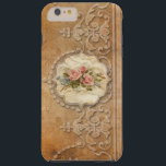 "Vintage Embossed Gold Scrollwork and Roses Tough iPhone 6 Plus Case<br><div class=""desc"">Elegant design featuring a band of embossed ornate scrolled border with center parchment label embellished with a mixed bouquet of pastel flowers on a distressed gold background. Note:  Sculpted,  engraved,  embossed and dimensional effects,  layered,  aged or eroded appearance,  textures and shadows achieved digitally. Actual product has a flat surface.</div>"