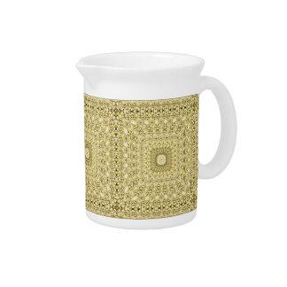 Vintage Embossed Metallic Gold Foil Floral Design Beverage Pitchers