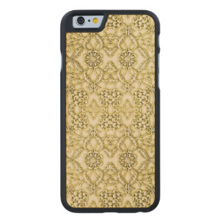 Vintage Embossed Metallic Gold Foil Floral Design Carved Maple iPhone 6 Case