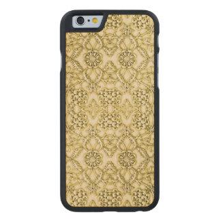 Vintage Embossed Metallic Gold Foil Floral Design Carved® Maple iPhone 6 Case