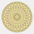 Vintage Embossed Metallic Gold Foil Floral Design Classic Round Sticker