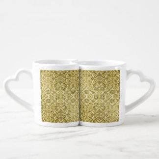 Vintage Embossed Metallic Gold Foil Floral Design Coffee Mug Set