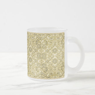 Vintage Embossed Metallic Gold Foil Floral Design Frosted Glass Coffee Mug