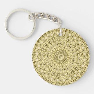 Vintage Embossed Metallic Gold Foil Floral Design Key Chain