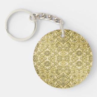 Vintage Embossed Metallic Gold Foil Floral Design Keychains