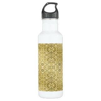 Vintage Embossed Metallic Gold Foil Floral Design 24oz Water Bottle