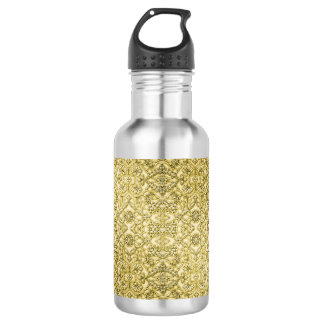 Vintage Embossed Metallic Gold Foil Floral Design 18oz Water Bottle