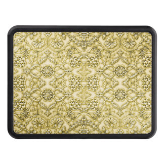 Vintage Embossed Metallic Gold Foil Floral Design Tow Hitch Covers