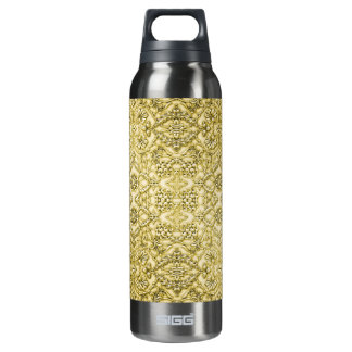 Vintage Embossed Metallic Gold Foil Floral Design 16 Oz Insulated SIGG Thermos Water Bottle
