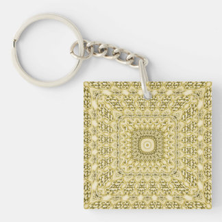 Vintage Embossed Metallic Gold Foil Floral Design Single-Sided Square Acrylic Keychain