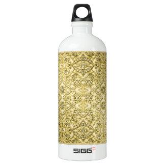 Vintage Embossed Metallic Gold Foil Floral Design Water Bottle