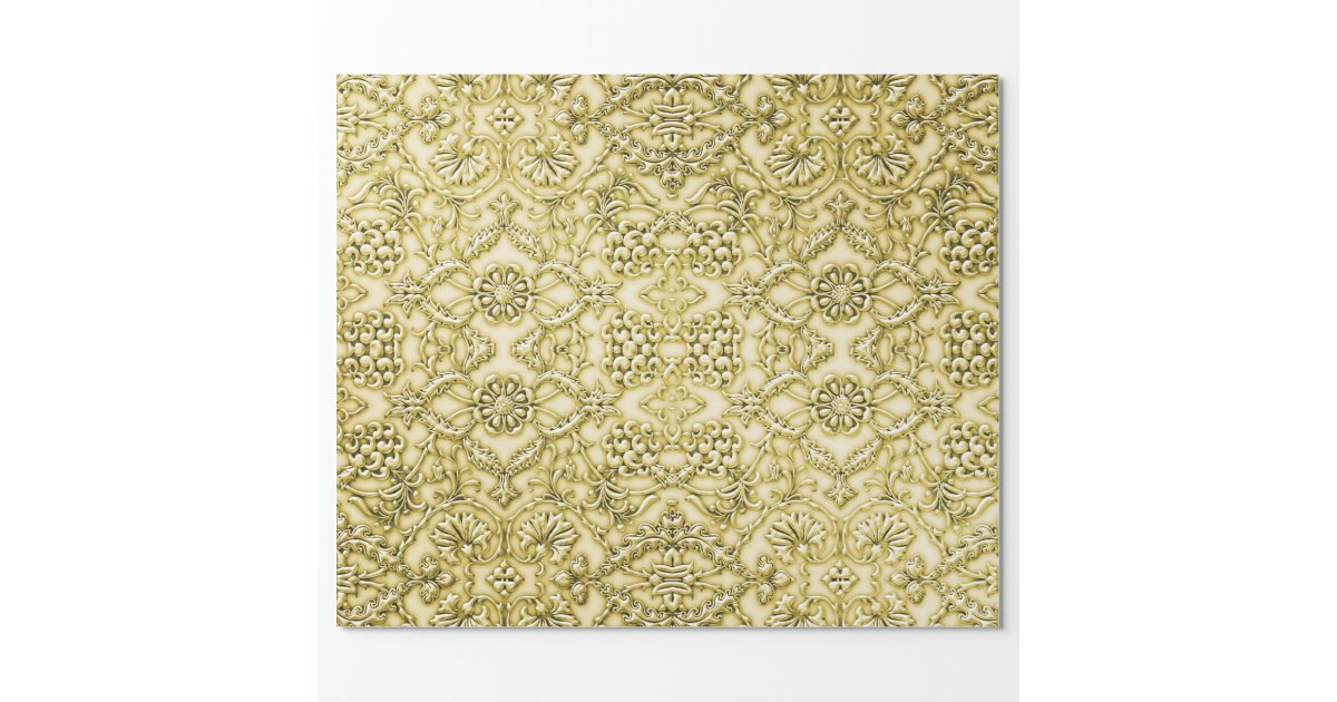 Vintage Embossed Metallic Gold Foil Floral Design Wrapping Paper | Zazzle
