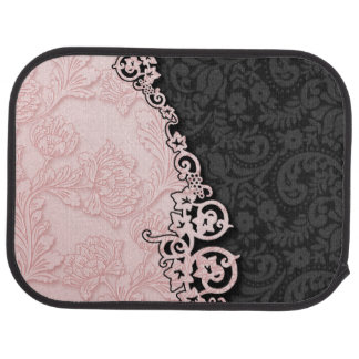 Vintage Embossed Pink and Black Damask Car Floor Mat