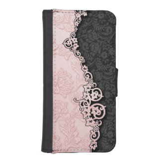 Vintage Embossed Pink Damask iPhone SE/5/5s Wallet Case