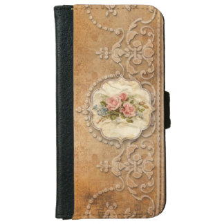 Vintage Embossed Scrollwork and Roses Wallet Phone Case For iPhone 6/6s