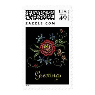 Vintage Embroidered Floral Greetings Postage Stamp