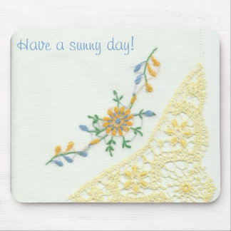Vintage Embroidered Hankie Mousepad