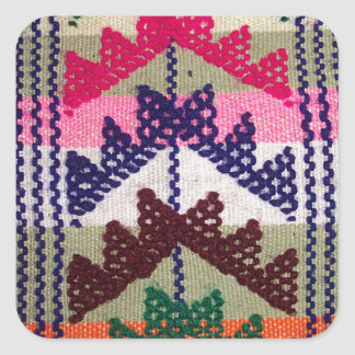 Vintage Embroidered Pattern Square Sticker