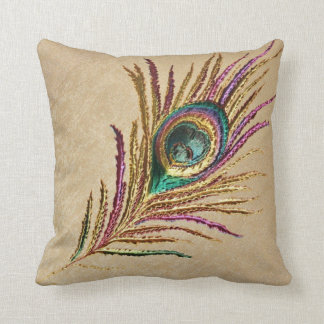 Vintage Embroidered Peacock Feather Throw Pillow