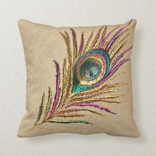 Vintage Embroidered Peacock Feather Throw Pillow Zazzle