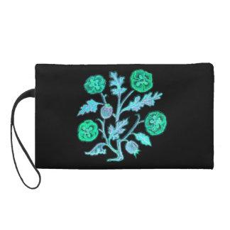 Vintage Embroidery Style Flower Blue Bagettes Bag