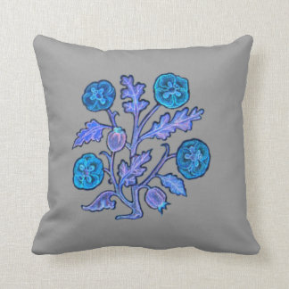 Vintage Embroidery Style Flower Blue MoJo Pillows