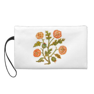 Vintage Embroidery Style Flower Peach Bagettes Bag