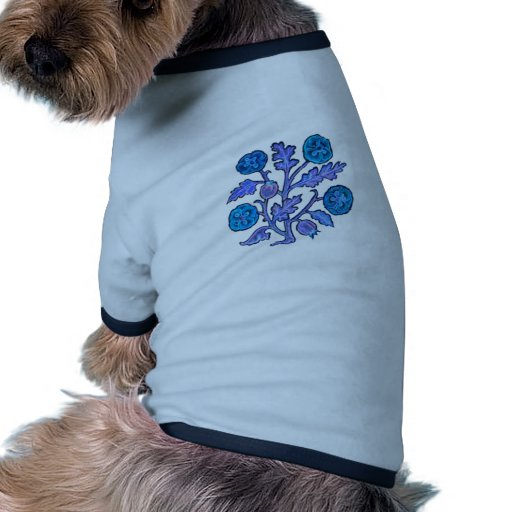 Vintage Embroidery Style Flowers Doggie T Shirt
