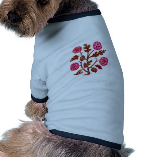 Vintage Embroidery Style Flowers Pet Tshirt