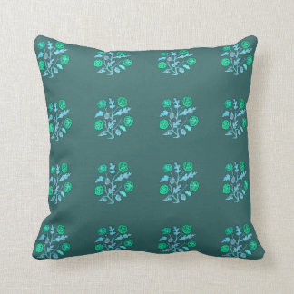 Vintage Embroidery Style Flowers in Blue Pillows