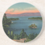 "Vintage Emerald Bay Lake Tahoe Coaster<br><div class=""desc"">Beautiful colors in this coaster showing a vintage view of Emerald Bay in Lake Tahoe.</div>"