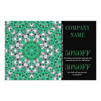 vintage emerald green pattern  bohemian flyer