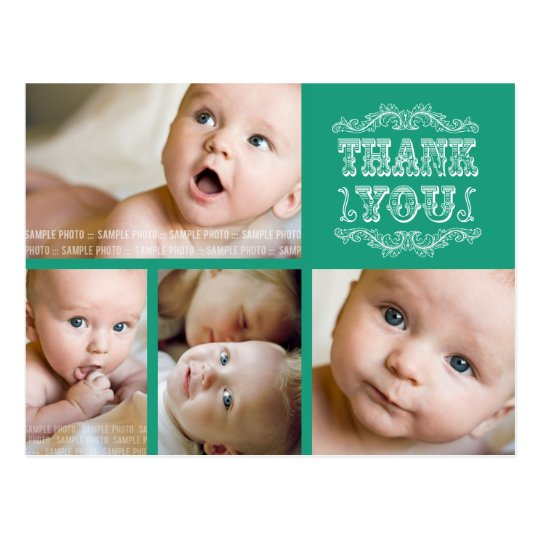 VINTAGE Emerald Photo Baby Thank You Post Card