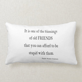 Vintage Emerson Friendship Blessing Quote Lumbar Pillow