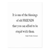 Vintage Emerson Friendship Blessing Quote Postcard