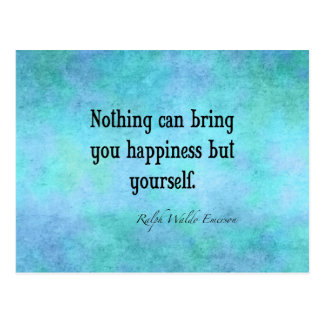 Vintage Emerson Happiness Inspirational Quote Blue Postcard