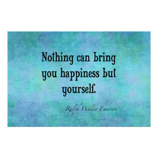 Vintage Emerson Happiness Inspirational Quote Blue Poster
