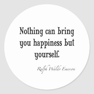 Vintage Emerson Happiness Inspirational Quote Classic Round Sticker