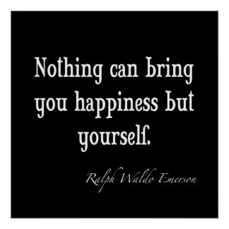 Vintage Emerson Happiness Inspirational Quote Poster