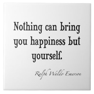 Vintage Emerson Happiness Inspirational Quote Large Square Tile