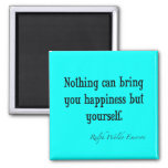 Vintage Emerson Happiness Quote Neon Blue Teal 2 Inch Square Magnet